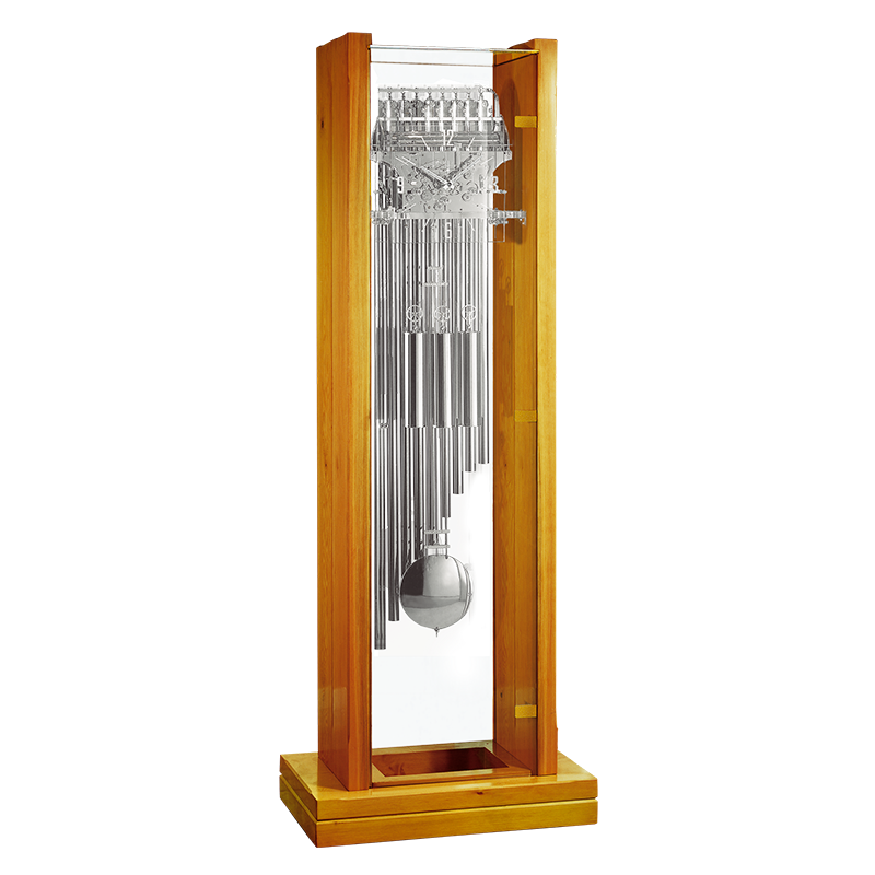 Particularly Modern Grandfather Floor Clock This Model Is Very Luminous Fully Chromed The Pendulum Shines While It Swings And You Can See Through